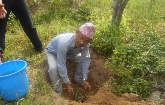 विश्व वातावरण दिवस सन् २०१८ को अवसरमा संचालित वृक्षारोपण कार्यक्रममा वृक्षारोपण गर्नु हदै धनकुटा नगर कार्यपालिकाका प्रमूख प्रशासकीय अधिकृत श्री टीकादत्त राई
